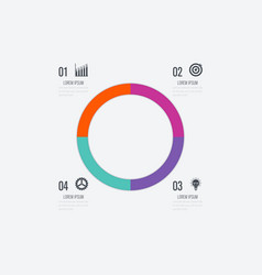 Infographics template 4 options with circle vector