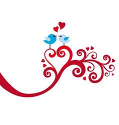 Love birds with heart swirl vector