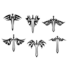 Tribal tattoos with swords and daggers vector image