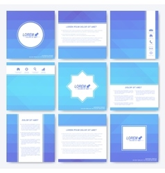 Blue set of square template brochure Business vector image vector image