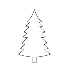 christmas pine with trunk silhouette on white vector image vector image