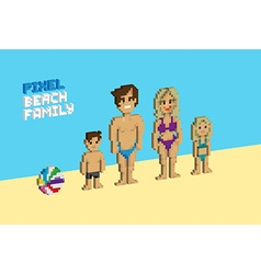 Pixel Beach family vector image vector image