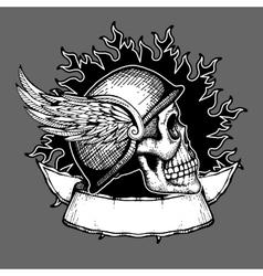 Retro motorcycle t shirt design biker skull vector image vector image