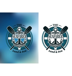 Seafarer badges with crossed oars vector image vector image