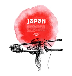 Sketch and watercolor Hand drawn Japanese sushi vector image vector image