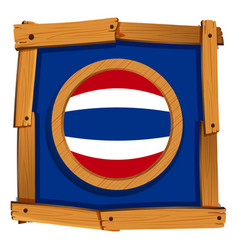 flag of thailand on wooden frame vector image vector image