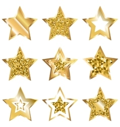 Golden Five Pointed Star Icon Set vector image vector image