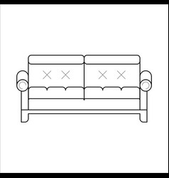 Green sofa classic cozy couch vector