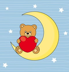 Bear sitting on the moon with a heart vector image vector image