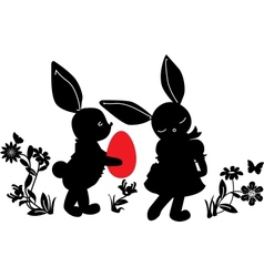 Bunnies with egg gift vector image
