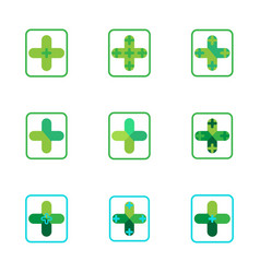 cross plus medical pharmacy green logo icons vector image vector image