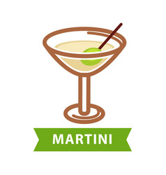 martini drink isolated on white flat vector image vector image