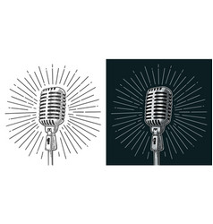 Microphone with ray vintage black vector