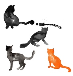 Silhouettes of cats made with watercolor vector image