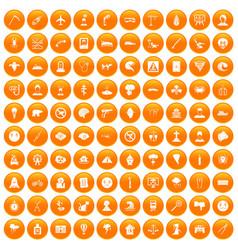 100 phobias icons set orange vector
