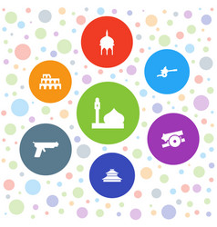 7 historic icons vector