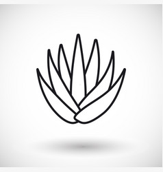 Aloe vera thin line web icon vector