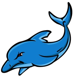 angry dolphin cartoon vector image