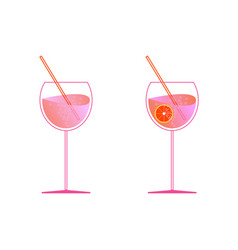 Aperol and prosecco in two glasses spritz vector
