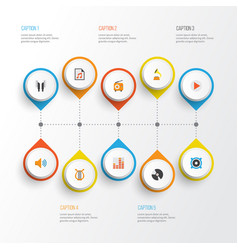 Audio flat icons set collection of broadcasting vector