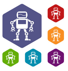 Automatic mechanism icons set hexagon vector