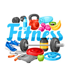 Background with fitness equipment vector