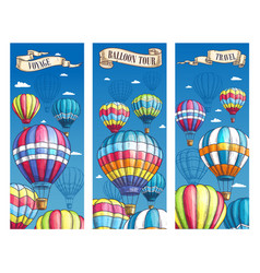 banners for hot air balloon voyage tour vector image