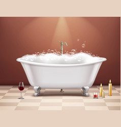 Bathtub with foam composition vector