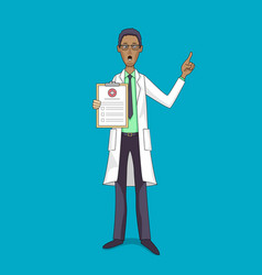 Black doctor in white coat with medical insurance vector