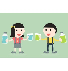 Boy and girl are rinse them mouth by mouthwash vector