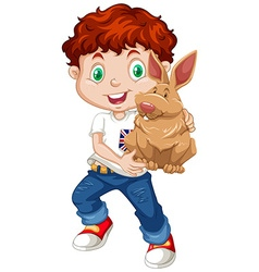 Boy hugging a brown rabbit vector