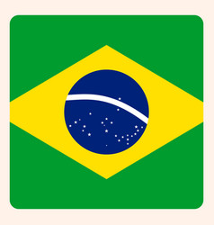 brazil square flag button social media vector image
