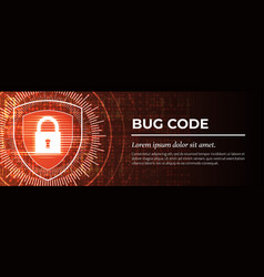 Bug code the red digital background vector
