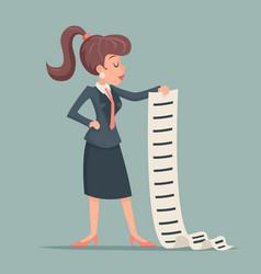 Businesswoman long list work deed offer sign vector