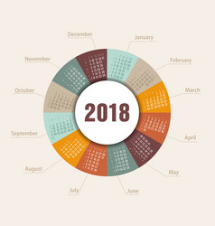 Calendar 2018 round shape week starts sunday vector