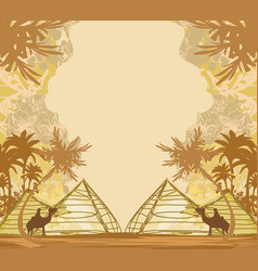 Camel in egypt desert - decorative vintage card vector
