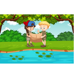Camping children reading map vector