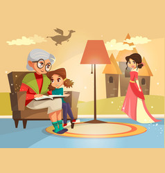 Cartoon grandmother reading to girl vector