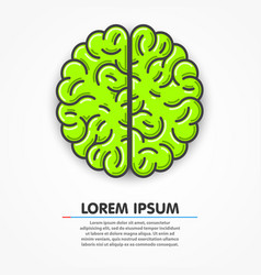 Cartoon green brain sign clean vector
