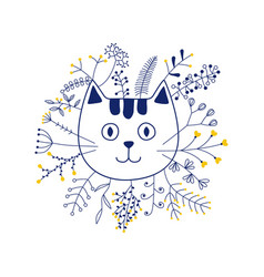 Cat head with flowers vector