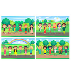 Children hold hands together out on nature set vector