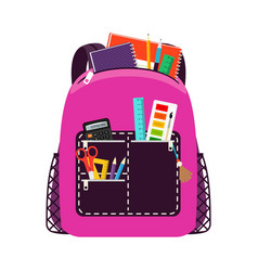 children pink school bag pack vector image