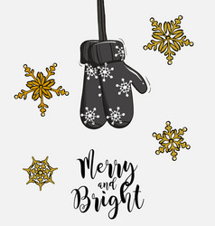 christmas gift gloves hanging advertising merry vector image