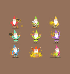 Classic garden gnomes in colorful outfits set of vector