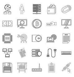 Clerk icons set outline style vector