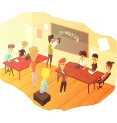 Co-working And Teamwork Class vector