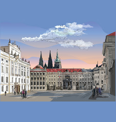 Colorful hand drawing prague 1 vector