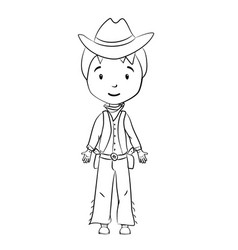 coloring book cartoon cowboy character vector image