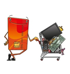 Credit card with shopping cart of electronics vector