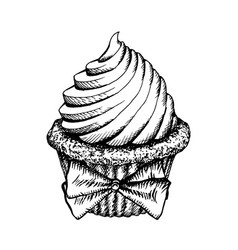 Cupcake sketch icon isolated vintage cup cake vector